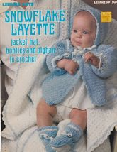 Snowflake Layette Crochet Patterns for Baby Afghan, Cap Booties Jacket - $7.00