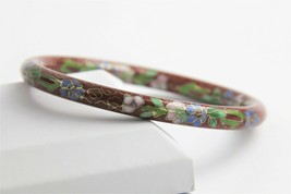 VINTAGE ESTATE EARLY 1900's CHINESE CLOISONNE BRICK RED ENAMEL BANGLE BR... - $25.00