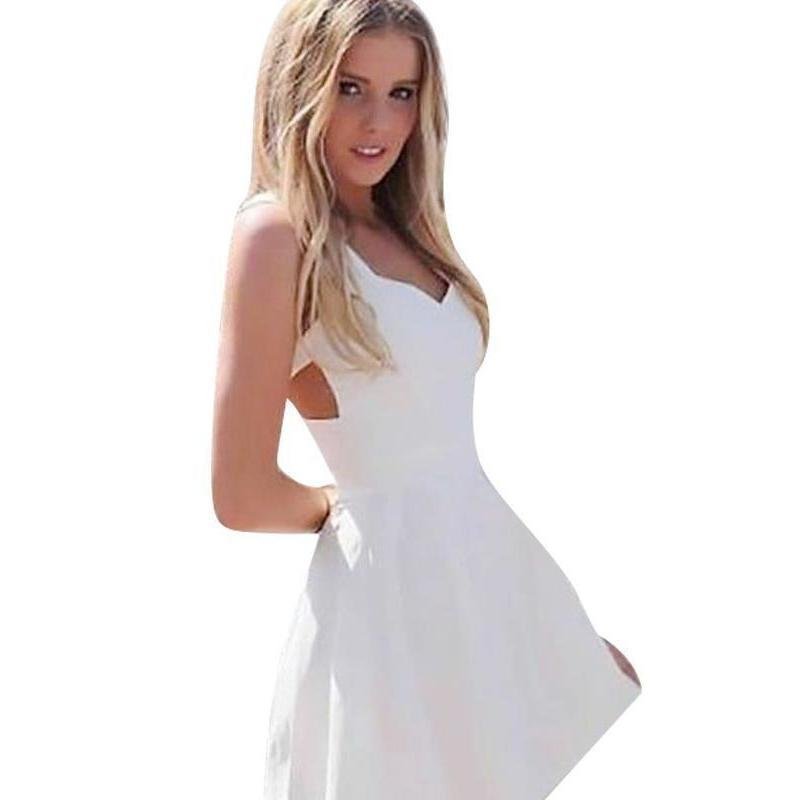 White Sleeveless Strappy Back Women Skater Dress