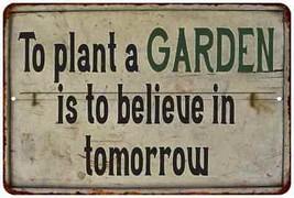 To Plant a Garden… Vintage Look Garden Chic 8x12 Metal Sign  8120020027 - $24.24 CAD+
