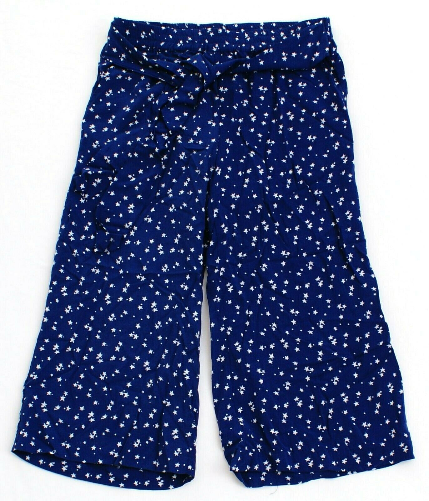 Primary image for Antibes Blanc Blue with White Stars Wide Leg Cropped Pants Culottes Women's NWT