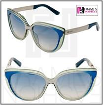 JIMMY CHOO Cindy Aqua Azure Silver Mirrored Metal Cat Eye Sunglasses Cindy/S - $268.29