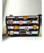 Betsey Johnson Crossbody Handbag Fun Emoji Black Small Purse Organizer Z... - $19.50