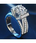 Solitaire With Accents Ring Round Cut Diamond 14k White Gold Plated 925 ... - $89.88