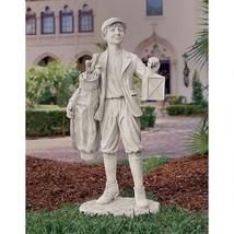 Young Scottish Lad Idyllic Golf Boy Caddy with Golf Bag & Lantern Garden... - $791.95