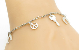 925 Sterling Silver - Vintage Petite Assorted Charm Shiny Chain Bracelet... - $27.02