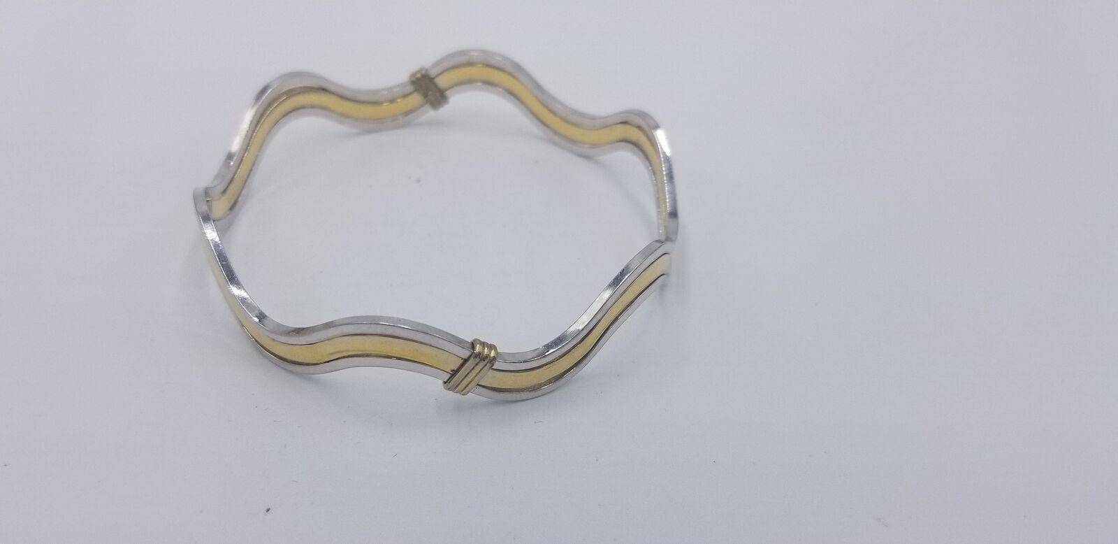 Vintage Signed Avon Silver And Gold Tone Wavy Style No Clasp Bracelet EUC image 3