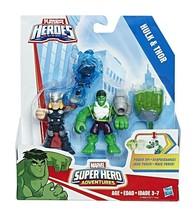 NEW SEALED 2016 Marvel Super Hero Adventures Thor + Hulk Action Figure Set - $21.28