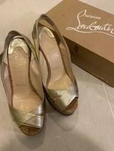 Christian Louboutin Authentic Wedge sole Sandals Gold Size 36.5 Used fro... - $288.99