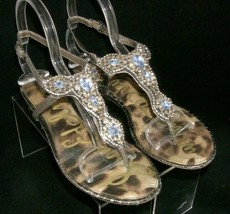 Sam Edelman 'Ross' pewter man made crystal embellished thong sandals 7.5M - $27.69