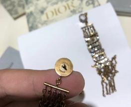 NEW AUTH Christian Dior 2019 J'ADIOR EARRINGS GOLD CRYSTAL DANGLE MULTI STRAND image 11