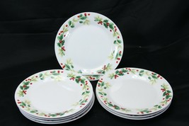"""Gibson Home Xmas Charm Holly Berry Salad Plates 7.5"""" Lot of 8 - $45.07"""