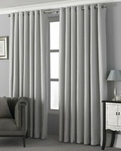 Embroidered Dot Silver White Lined Anneau Top Curtains 8 Sizes - $54.00+