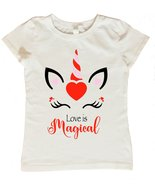 Unicorn Valentines Day Shirt, Valentines Day Shirt for Girls, Love is Ma... - $14.95