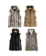 NWT Kristen Blake Reversible SOFT WARM Faux Fur Hooded Vest Leopard/Chin... - $99.99