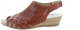 Earth Leather Perforated Wedge Sandals-Pisa Galli Terracotta 8M NEW A346894 - $85.12