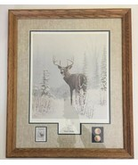 Winter Wonder Print ,Framed by Leo Stans-Reindeer,Stamps, and Coins 24.5... - $59.39