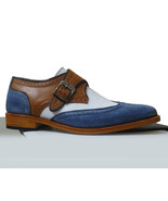 Handmade Men Brown Blue white Dress Shoes Leather Monk Formal Brogue shoes - $169.97+