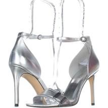 Nine West Matteo Ankle Strap Dress Sandals 807, Silver Metallic, 7 US - $32.25