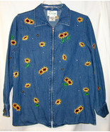 Denim Blue Jacket XS Fall Sunflowers Bumble Bees QUACKER FACTORY Extra S... - $14.00