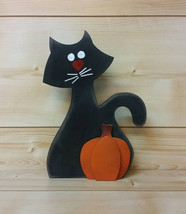 Halloween Black Cat with Pumpkin - Halloween Black Cat - Halloween Decor... - $24.99