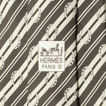100% Auth HERMES TIE Silk Necktie Mens STRIPES HORSESHOES Pattern 5276 - $115.95