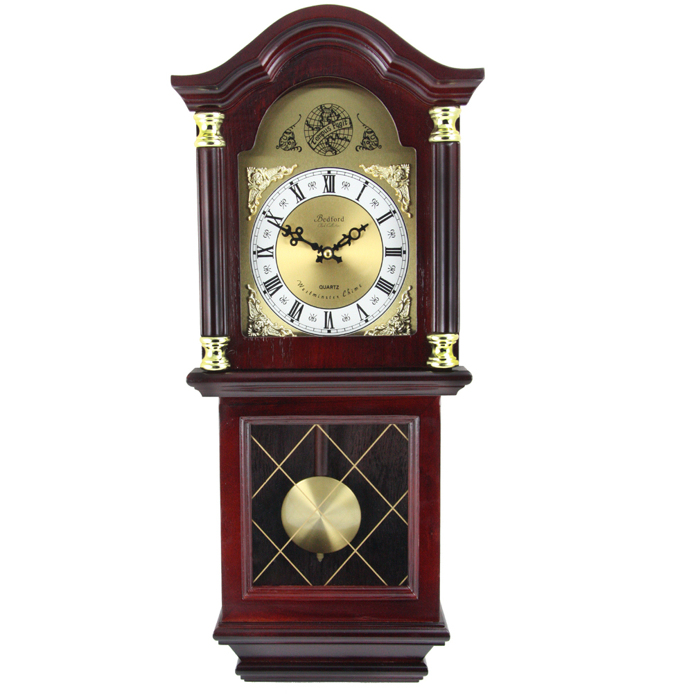 Bedford Clock Collection 26 Inch Chiming Pendulum Wall Clock in Antique Mahogany