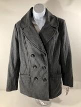 NEW Merona Women's Classic Double Breasted Peacoat Gray Coat Wool Blend ... - $19.79
