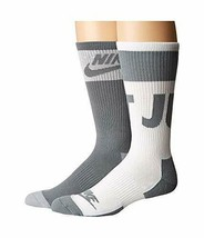 NIKE Unisex 2 Pair Pack Sportswear Crew Socks Gray/White Large 8-12 SX57... - $22.99