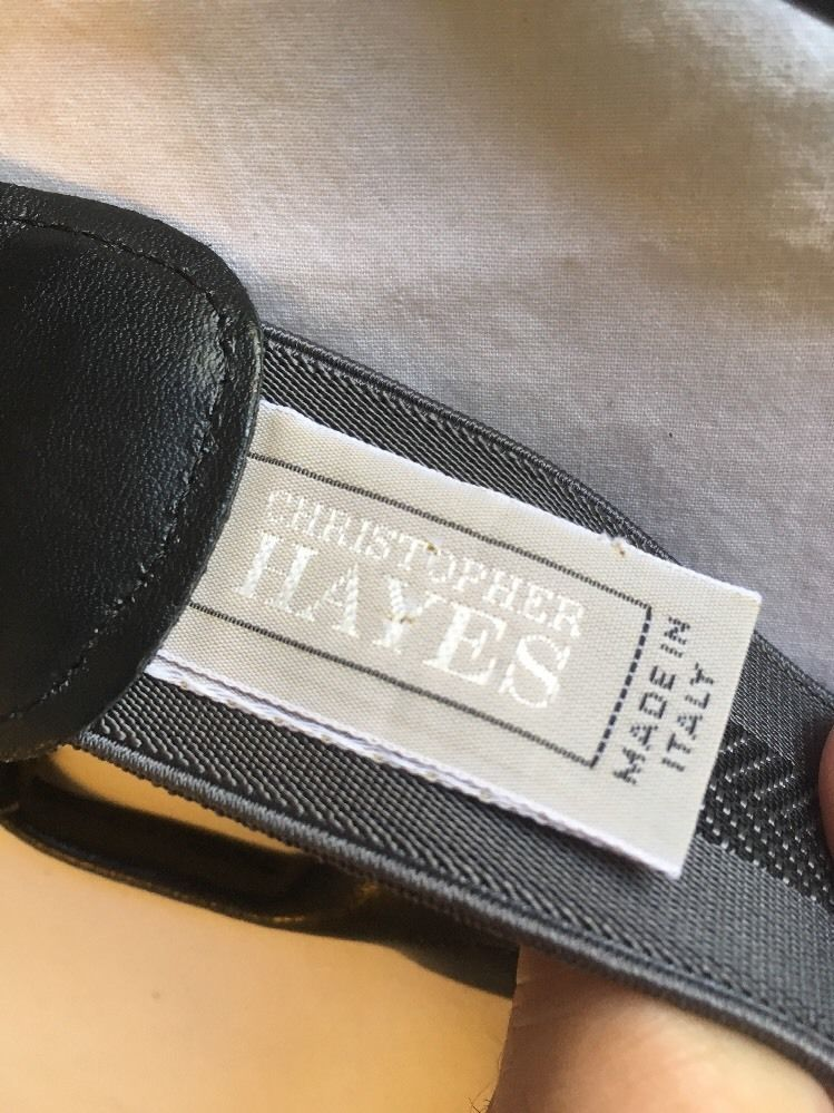 Christopher Hayes Button Y Suspender Black Leather Trim Grey black Made in Italy