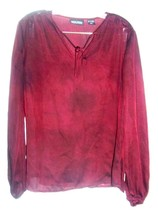 New York & Co Maroon Sheer Top with String Ties Polyester Top Sz M  - $23.74