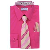 Berlioni Italy Toddlers Kids Boys Long Sleeve Dress Shirt Set With Tie & Hanky image 6