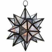 Clear Glass Lens Moroccan Star Bronze Hanging Candle Lantern - $31.73