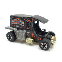 Hot Wheels 1976 Vtg T-Totaller Hotrod Car Flying Colors Gold HK Base Black Wall - $12.84