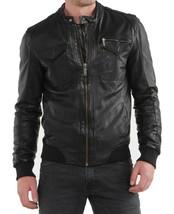 Mens Leather Jacket Stylish Genuine Lambskin Motorcycle Bomber Biker MJ 154 - $149.47