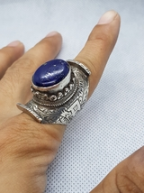 Super Gerogues Antique Old Silver Ring With Afghanistan Natural Lapis la... - $100.00