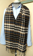 "THE NATIONAL TRUST Lambswool Tassel Scarf Scotland made 66""x10""  Brown B... - €27,44 EUR"