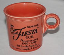 Homer Laughlin Mug Genuine Fiesta 60th Anniversary Persimmon 1936-1996 USA - $7.87