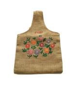 Vintage Burlap Tote Bag Unisex Zaire Lined Africa Embroidered Floral - $22.27