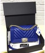 AUTH NEW CHANEL ELECTRIC BLUE CHEVRON QUIILTED MEDIUM BOY FLAP BAG SHW - $4,399.99