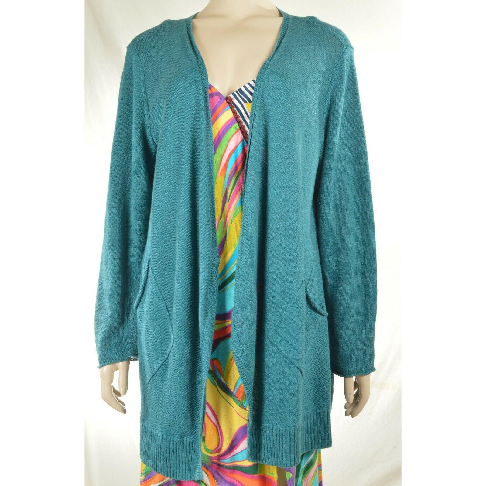 Eileen Fisher sweater cardigan SZ L teal 100% linen knit pockets soft long s
