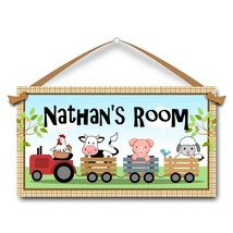 "Farm Animals, Wagons, Kids Door Sign, 5.5"" x 10.5"", Personalized Name Pl... - $13.00"