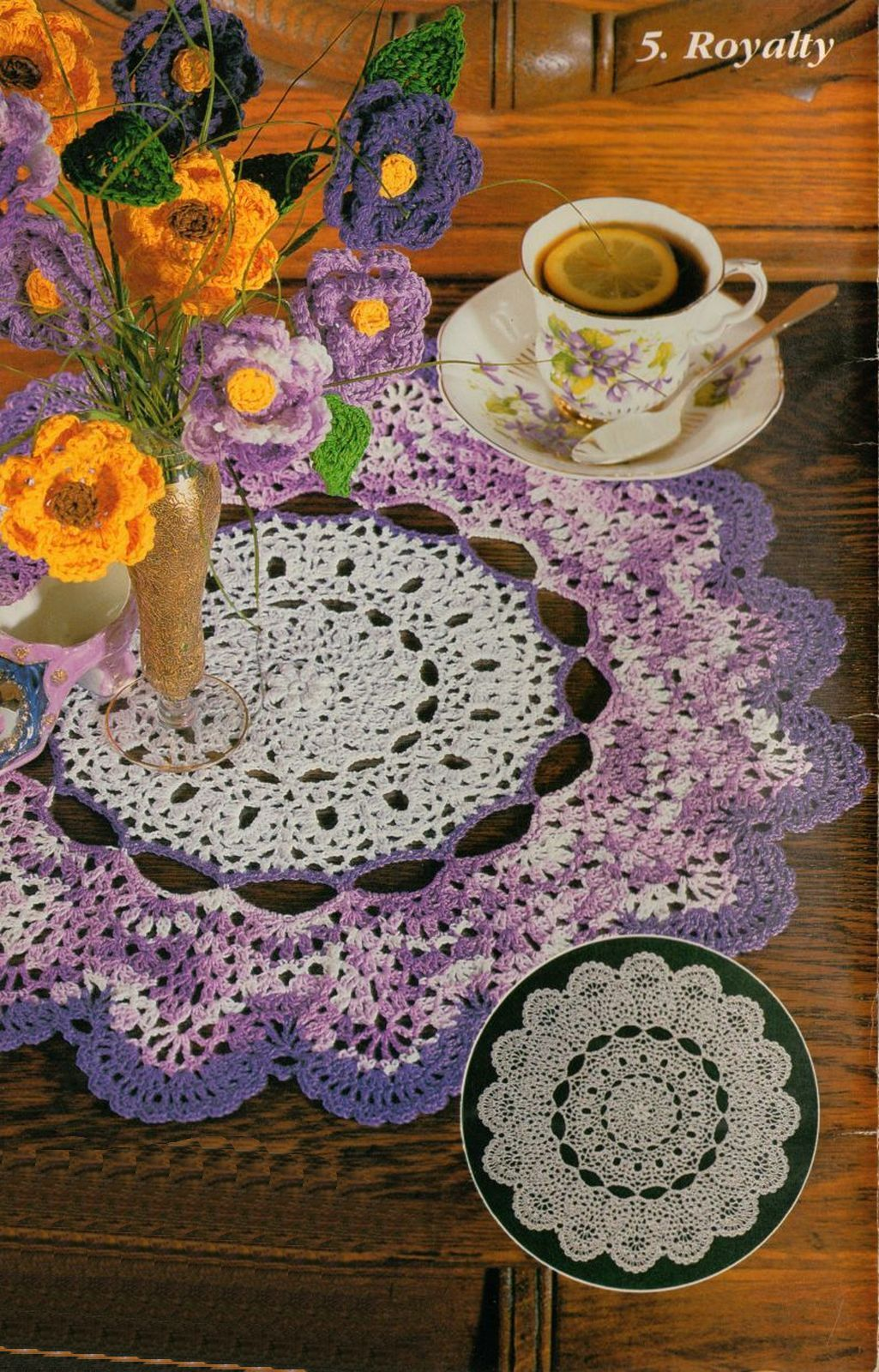 Primary image for Bouquet Roses Cameo Tiara Royalty Doily Daisy Field Table Scarf Crochet Pattern
