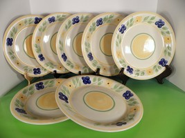 Gibson Blue Yellow Flowers Dinner Plate (s) LOT OF 7 Floral Pattern on W... - $49.45