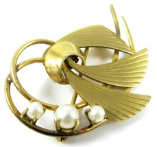 Signed Ca 12K Gold Filled Vintage Genuine Pearls Abstract Floral Brooch ... - $33.65