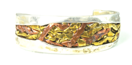 """Sterling Silver Veina Two Tone Bangle Cuff Bracelet 24mm 2-1/2"""" Handcrafted - $32.73"""