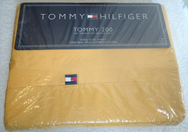 Tommy Hilfiger King Size Flat Sheet Harvest Yellow Tommy 200 NIP  - $44.55