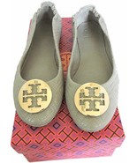 Tory Burch Minnie Reva Ballerina Flats Gray Quilted Leather Ballet Shoe 8.5 - $168.00