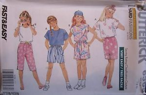 Primary image for 6365 NCUT Vintage Butterick SEWING Pattern Girls Top Shorts Skirt FF OOP Summer