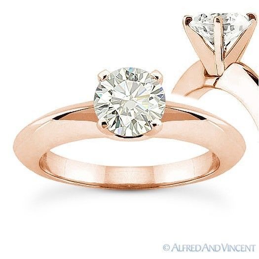 Primary image for Forever ONE D-E-F Round Cut Moissanite 14k Rose Gold Solitaire Engagement Ring